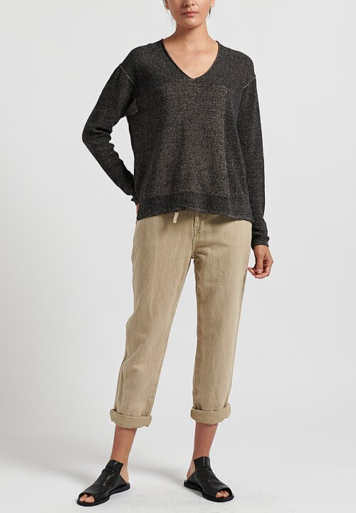 Annette Gortz Cotton V-Neck Cela Sweater in Nero