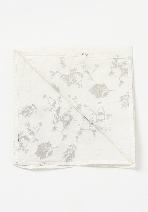 Bertozzi Crumpled Linen Two-Toned Printed Napkin Leaf in Silver