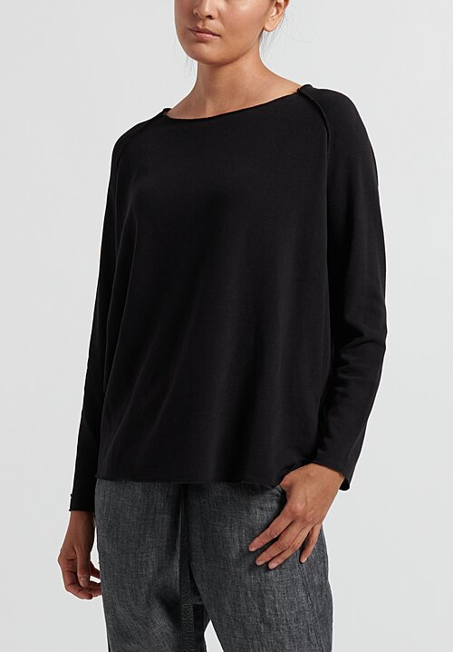 Album di Famiglia Cotton Raglan Top in Black