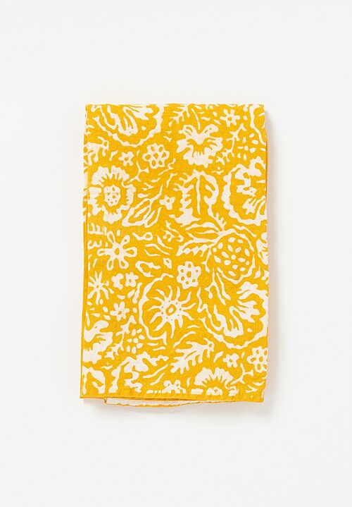Bertozzi Crumpled Linen Kitchen Towel in Wild Flower in Gold