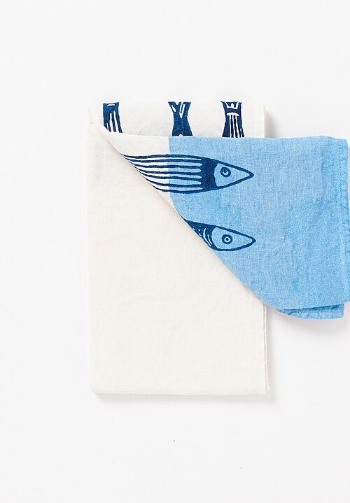 Bertozzi Handmade Crumpled Linen Kitchen Towels Panarea Blu