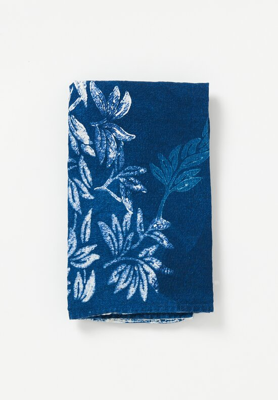 Bertozzi Handmade Crumpled Linen Olive Branch Kitchen Towel in Indigo