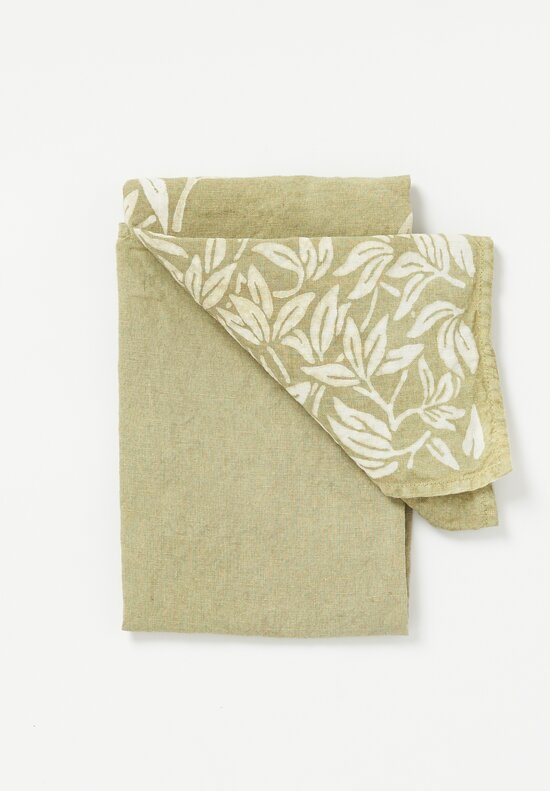 Bertozzi Handmade Crumpled Linen Olive Branch Kitchen Towel Muschio