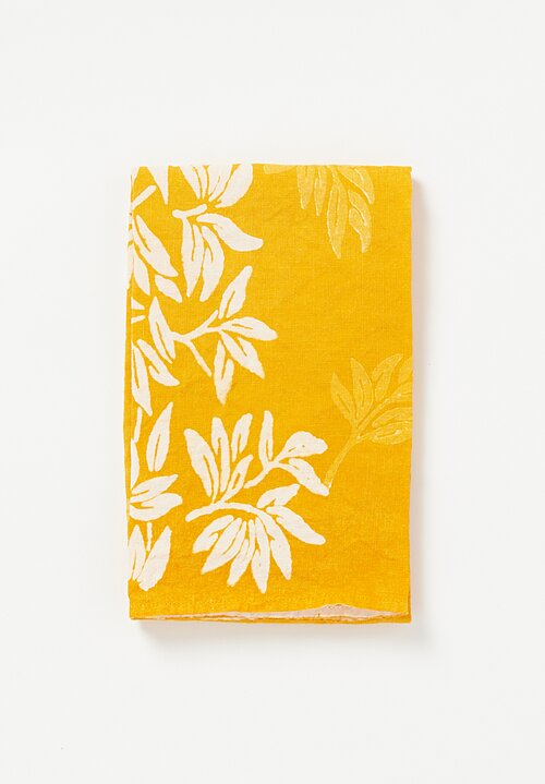 Bertozzi Handmade Crumpled Linen Olive Branch Kitchen Towel Giallo