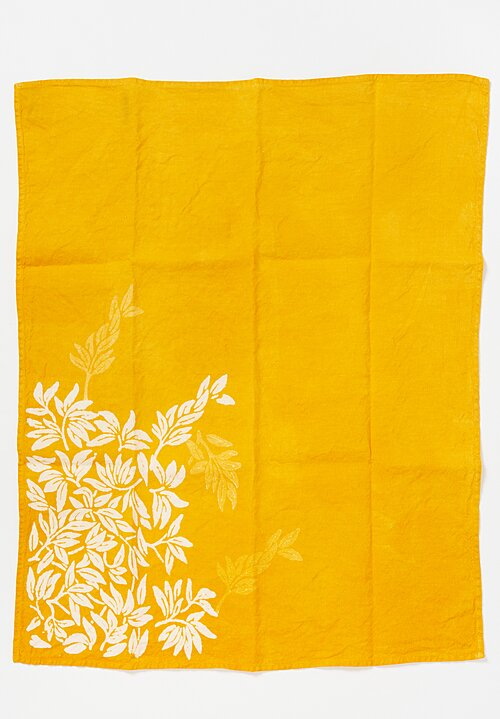 Bertozzi Handmade Crumpled Linen Olive Branch Kitchen Towel in Gold