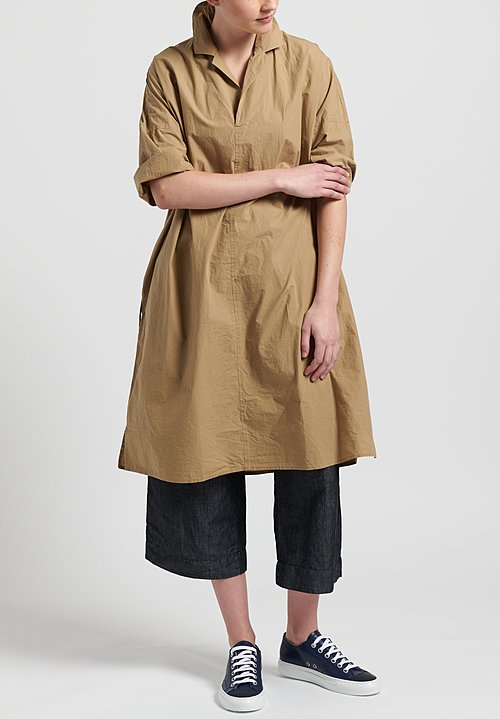 Album Di Famiglia Cotton Collar Drawstring Waist Dress in Beige
