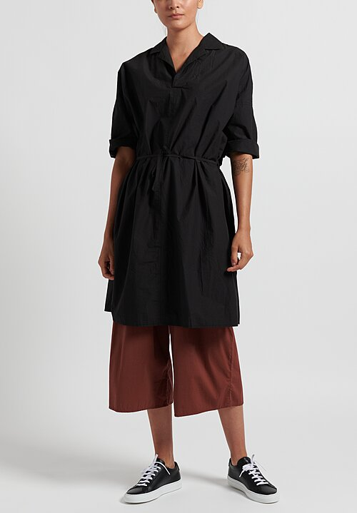 Album di Famiglia Cotton Collar Drawstring Waist Dress in Black