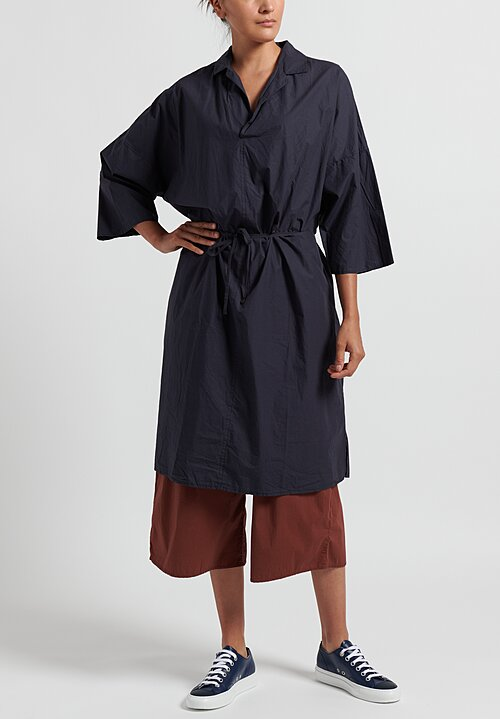 Album di Famiglia Cotton Collar Drawstring Waist Dress in Navy