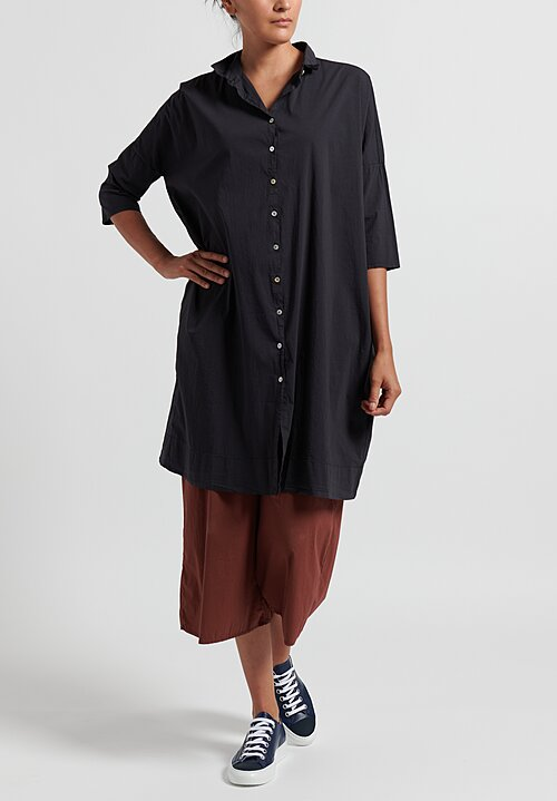 Album di Famiglia Cotton Button Down Dress in Navy