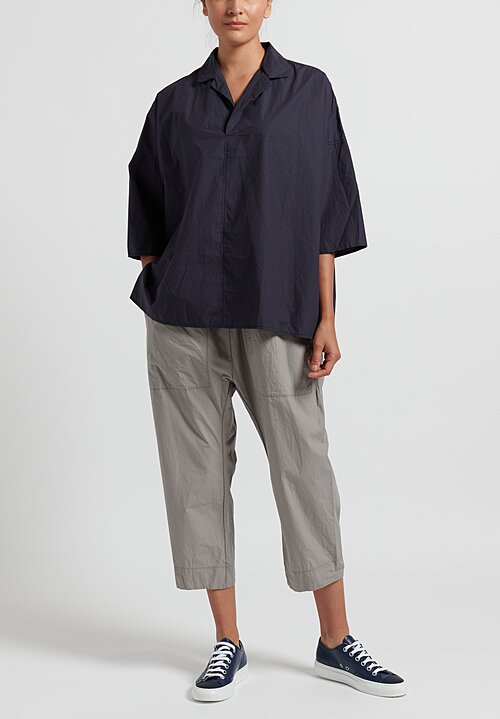 Album di Famiglia Cotton Relaxed Shirt in Navy