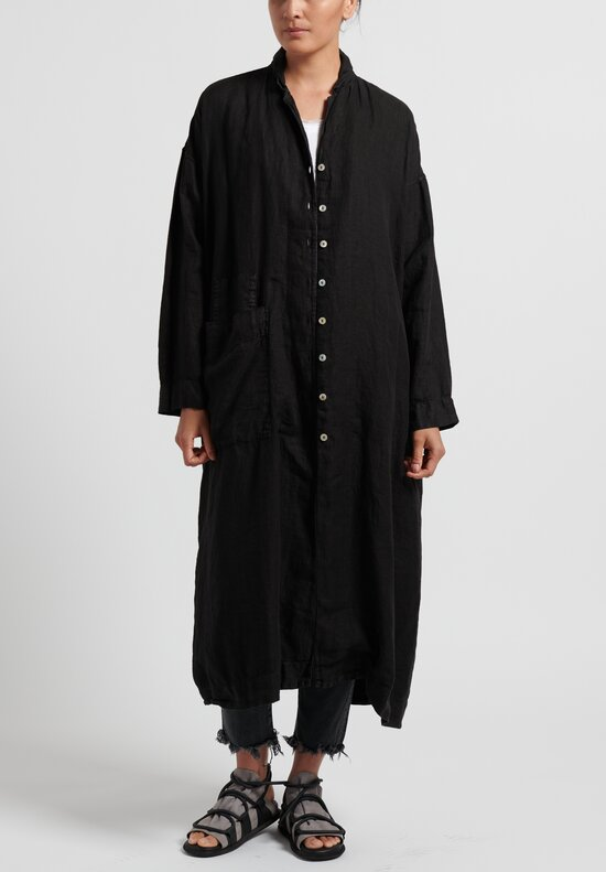 Album di Famiglia Cotton/ Linen Light Coat in Black