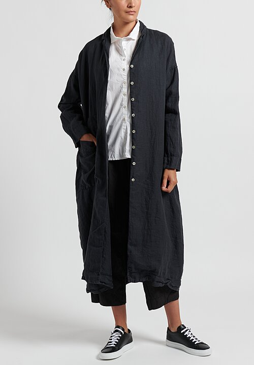 Album di Famiglia Cotton/ Linen Light Coat in Charcoal