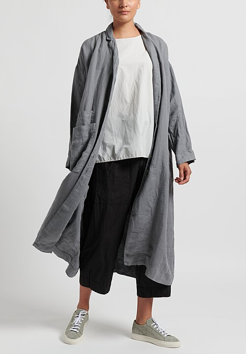 Album di Famiglia Cotton/ Linen Light Coat in Grey
