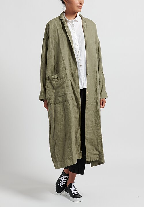 Album di Famiglia Cotton/ Linen Light Coat in Olive
