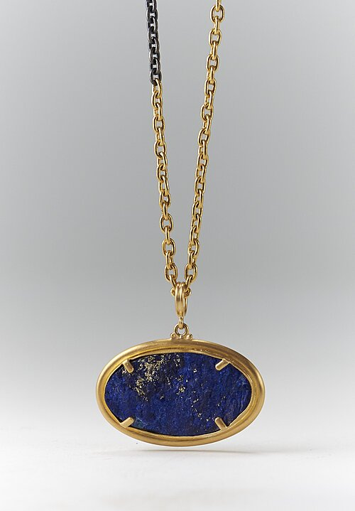 Lika Behar 22K, Lapis Rough/ Smooth Reversible Rocky Pendant