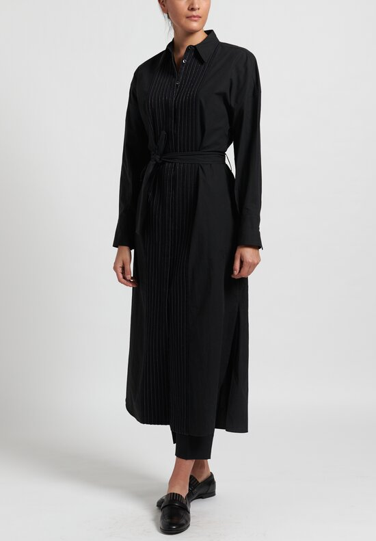 Brunello Cucinelli Pleated Shirt Dress in Black