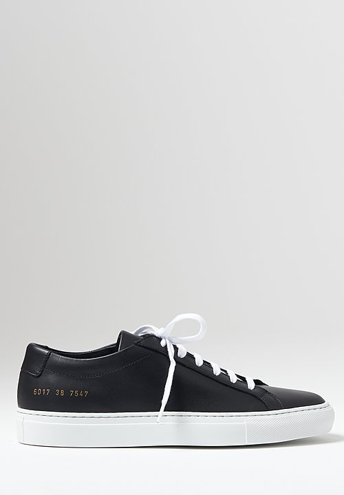 Common Projects Achilles Low White Sole Sneaker in Black