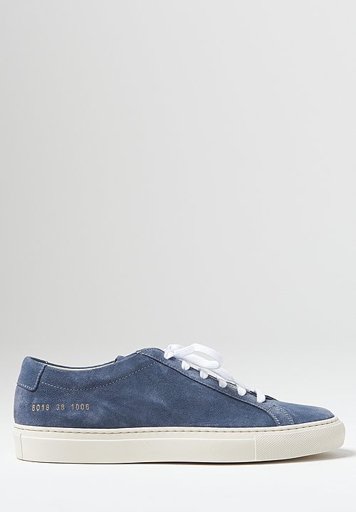 Common Projects Original Suede Achilles Low Contrast Sole Sneaker in Blue
