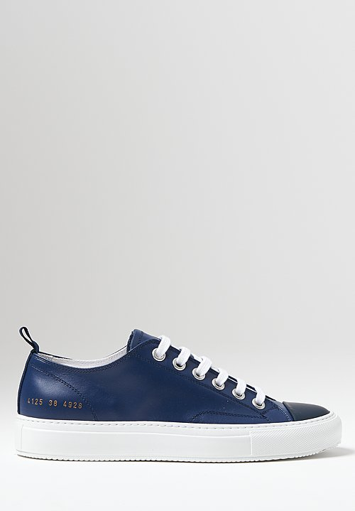 Common Projects Tournament Low Shiny Sole Sneaker in Navy