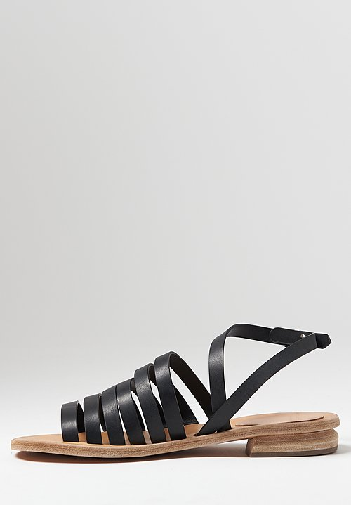 Officine Creative Droit Nappa Leather Sandals in Nero