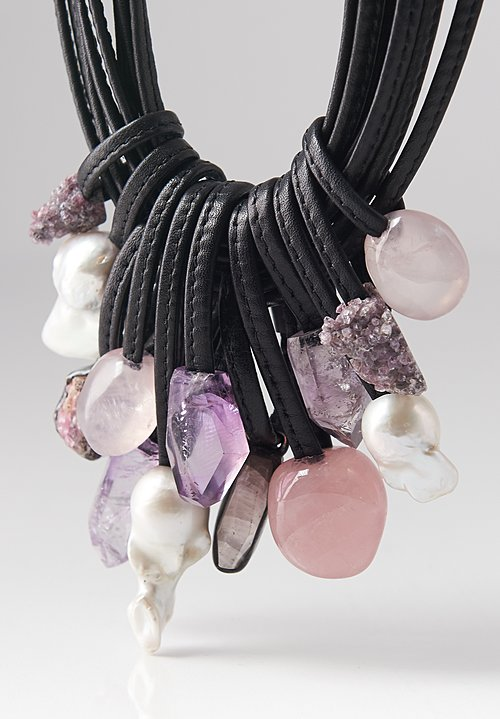 Monies Amethyst, Quartz, Pearl Necklace