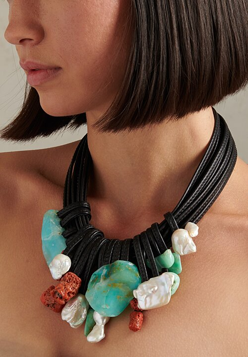 Monies Coral, Pearl, Chrysoprase Necklace