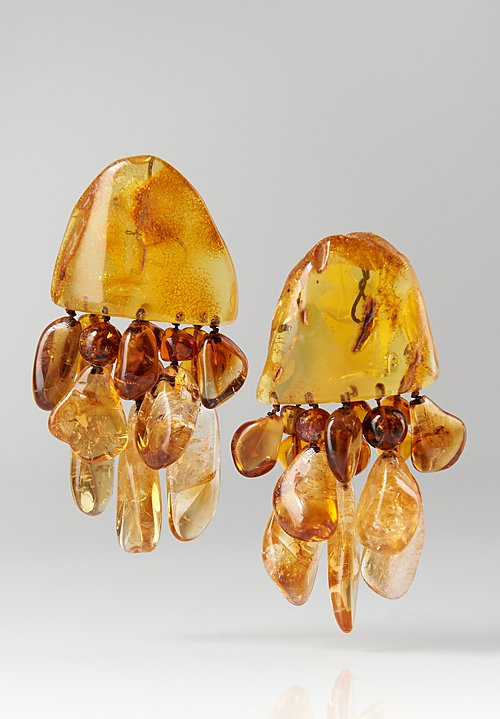 Monies UNIQUE Danish Amber and Citrine Clip-Ons
