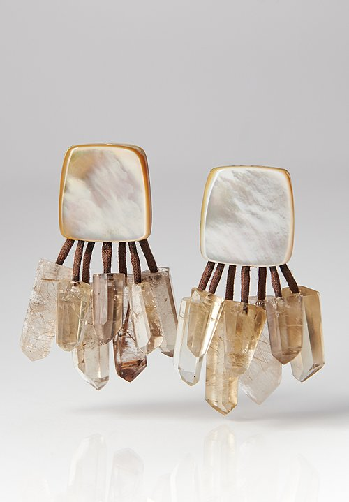 Monies UNIQUE Mother of Pearl, Citrine and Crystal Clip-Ons