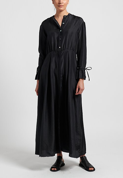 A Tentative Atelier Silk Soddy Washed Shirt Dress in Black