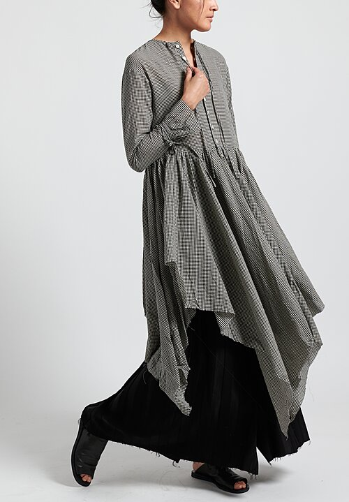 A Tentative Atelier ''Sacco'' Washed Multi-Layers Dress in Black