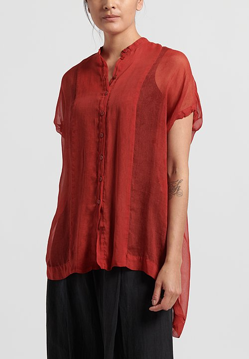Masnada Silk Chiffon Top in Cinnamon