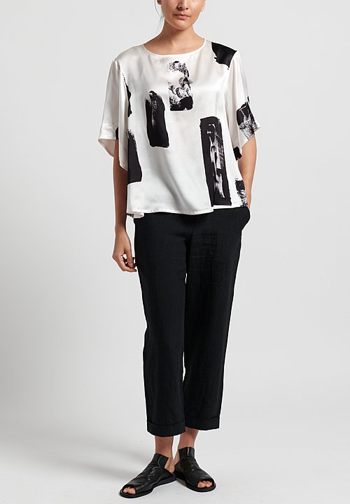 Toogood Silk Brushstrokes Writer Top in Chalk