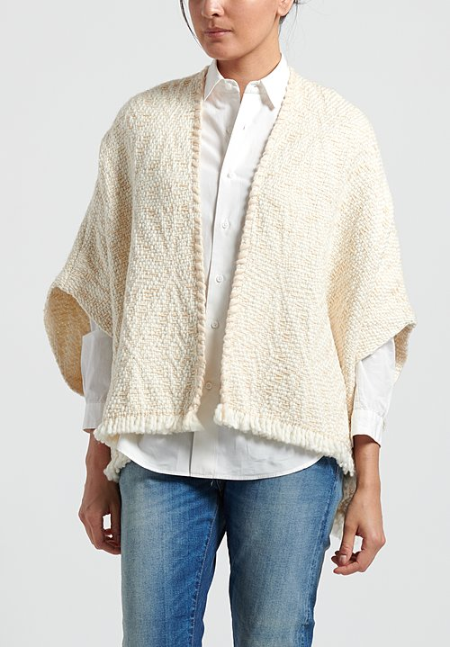 Wehve Handwoven Merino Wool Lose Cardigan in White Shell
