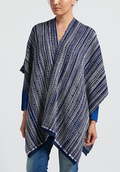 Wehve Merino Wool Hemmed Bianca Wrap in North Sea