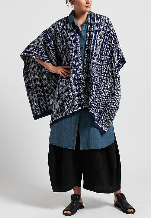 Wehve Merino Wool Hemmed Bianca Wrap in Blue