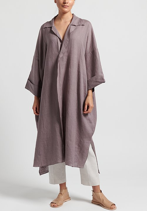 Shi Linen Long Kaftan in Dusty Purple