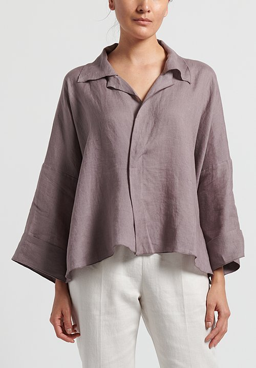 Shi Linen Notch Collar Short Top in Dusty Purple