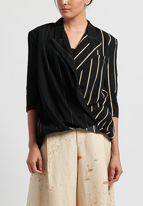 Uma Wang Striped Kappo Top in Black/ Tan