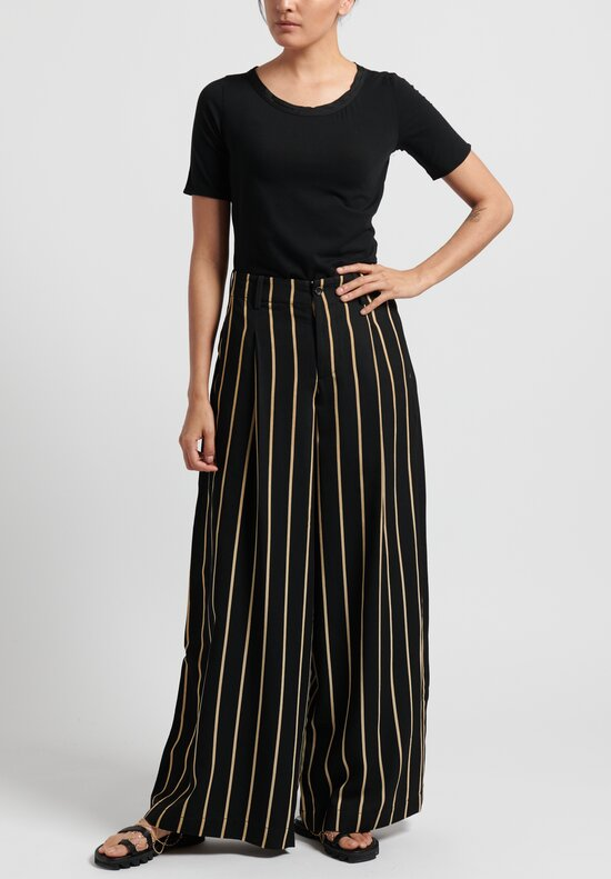 Uma Wang Striped Paloma Pants in Black/ Tan