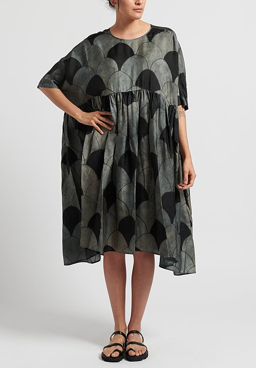 Uma Wang Printed Aggie Dress in Blue/ Black