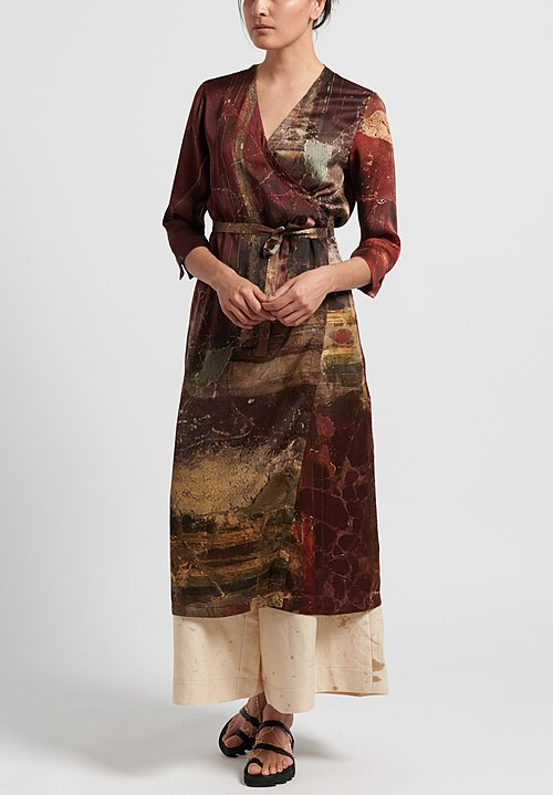 Uma Wang Silk Anthea Wrap Tunic in Dark Red/ Mango