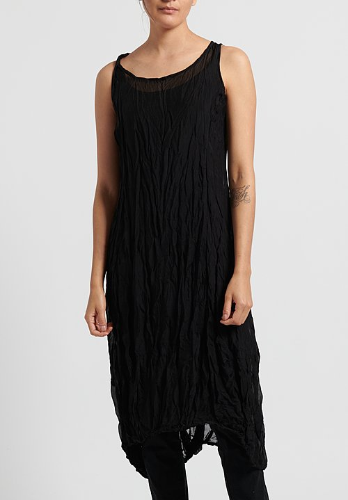 Rundholz Black Label Crinkle Tank Dress in Black