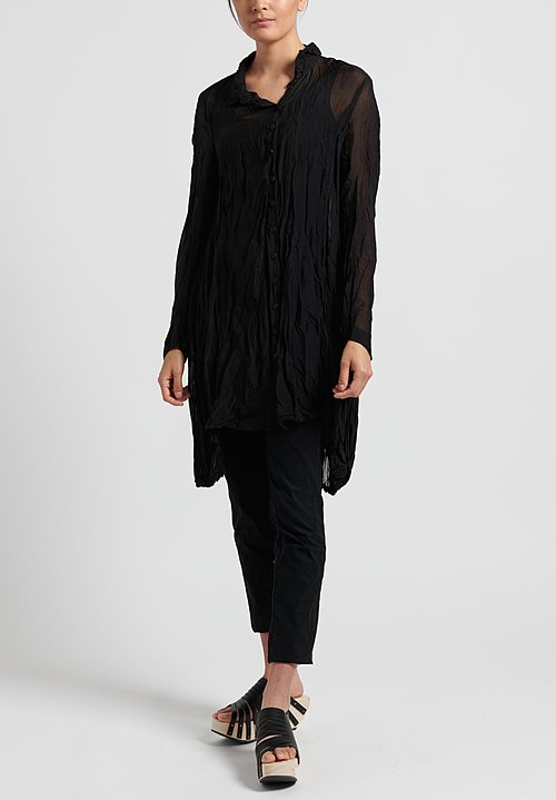Rundholz Black Label Sheer Crinkle Shirt in Black