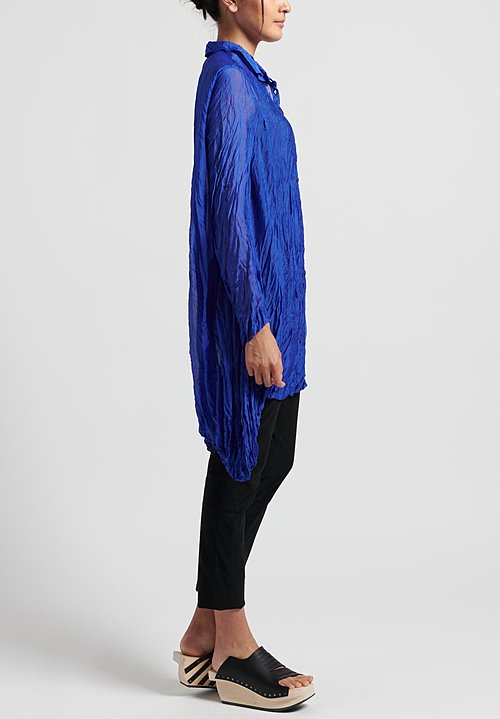 Rundholz Black Label Sheer Crinkle Shirt in Curacao
