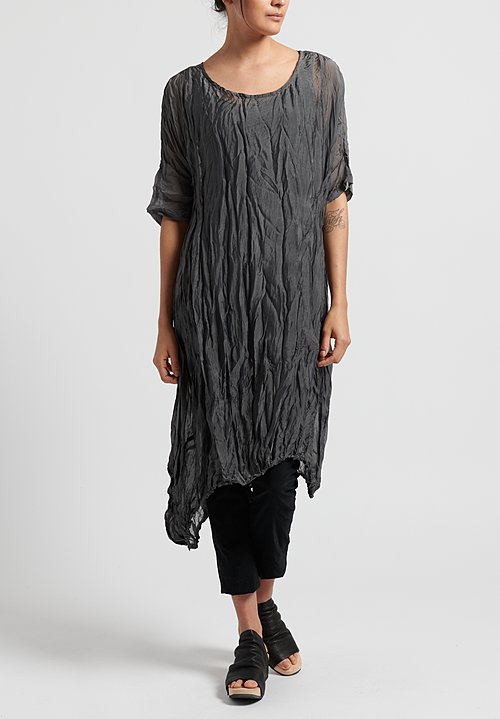 Rundholz Black Label Sheer Crinkle Tunic in Rock