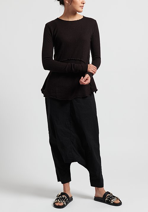 Rundholz Cashmere Fitted Knit Top in Brown