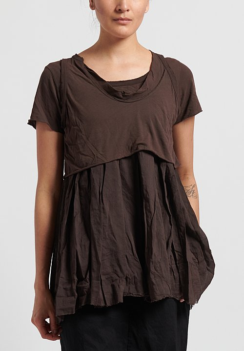 Rundholz Dip Cotton Layered Top in Rust