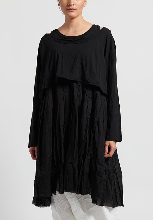 Rundholz Dip Cotton Oversized Layered Dress in Black