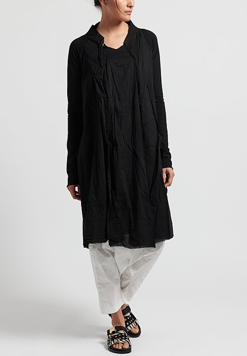 Rundholz Dip Cotton Layered Tunic Dress in Black