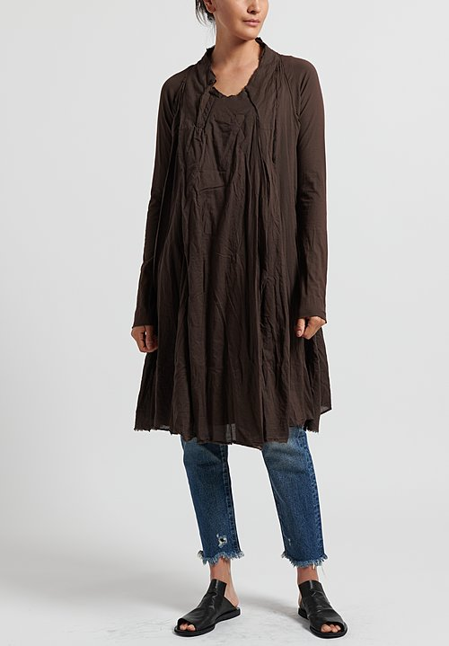 Rundholz Dip Cotton Layered Tunic Dress in Rust